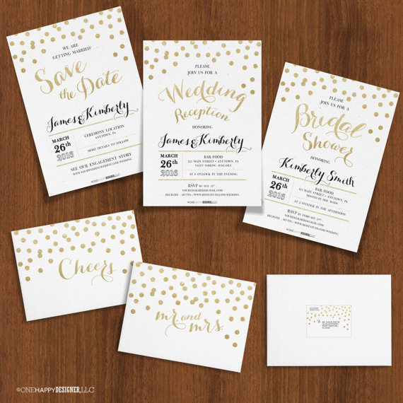 Gold Glitter Confetti Dot Invite Suite