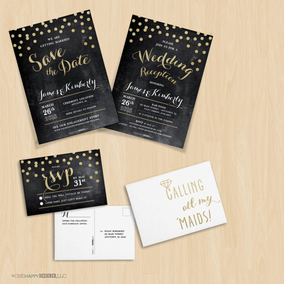 Chalkboard + Gold Glitter Confetti Dots Wedding Suite